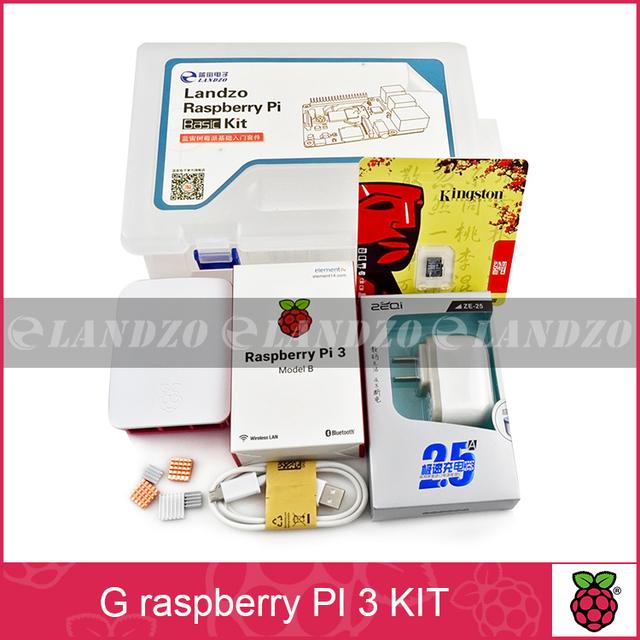 G kit-Raspberry Pi raspberry pi 3 Board + 5 V Fonte De Alimentação 2.5A + caso + Dissipador de Calor Para Raspberry Pi 3 Modelo B wifi & bluetooth