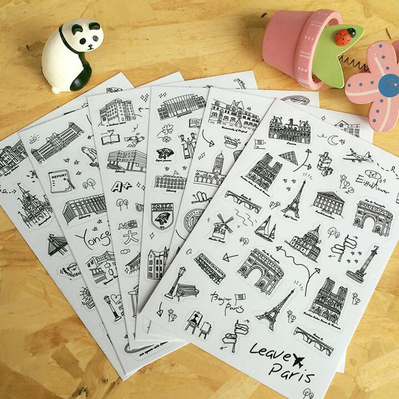 6 Pcs/set Famous Building Stamp Sticker World Sightseeing Tours PVC Transparent Sticker Diary Stickers