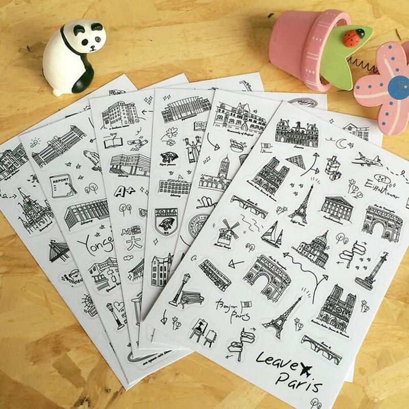 6 pcs/set Famous Building Stamp Sticker World Sightseeing Tours PVC Transparent Sticker Diary Stickers цена 2017