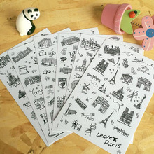 6 pcs/set Famous Building Stamp Sticker World Sightseeing Tours PVC Transparent Diary Stickers