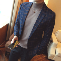 2019 Spring and Autumn New Personality Fashion Urban Men's Casual Slim Plaid Suit Jacket Cotton Solid Color Comfortable Jacket