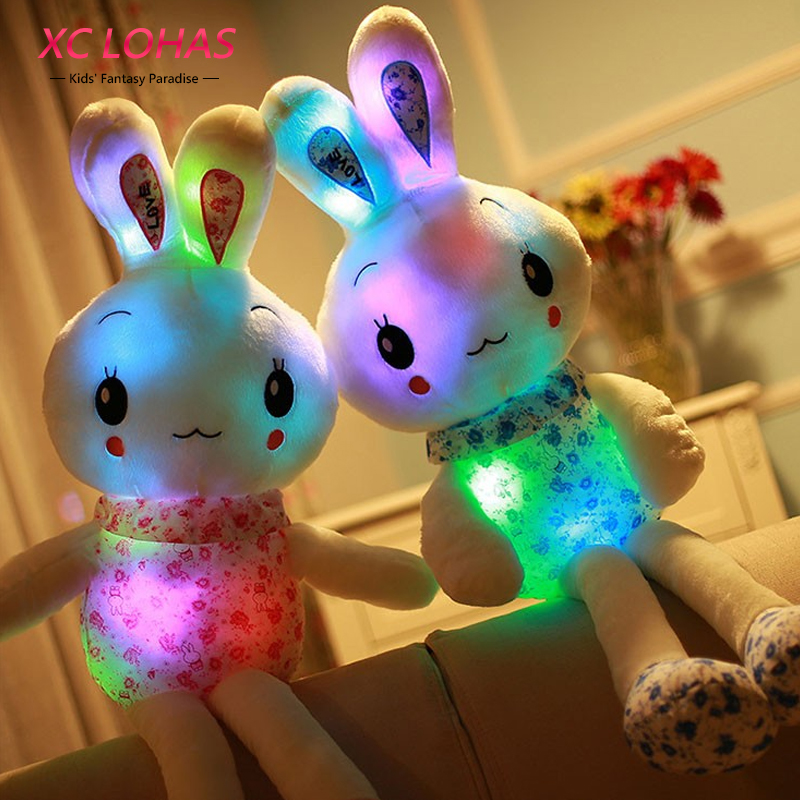 70cm Cartoon Plush Glowing Stuffed Plush Rabbit Toy Pillow Flashing LED Light Rabbit Doll Toys Baby Birthday Gift for Children 65cm plush giraffe toy stuffed animal toys doll cushion pillow kids baby friend birthday gift present home deco triver