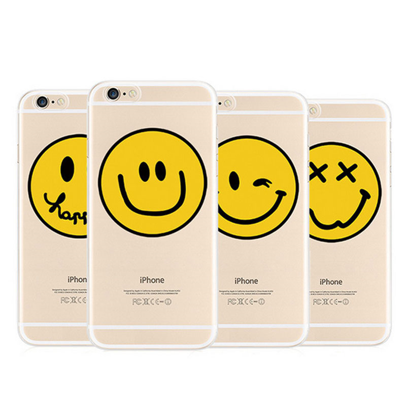 R 75 46 De Descontobonito Emoji Feliz Cara Amarela Do Smiley Silicone Suave Phone Case Para Iphone 5 5s 6 6 S 7 Mais Clara Tpu Tampa Traseira De