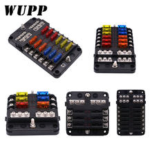 WUPP 12V 32V Plastic Cover Fuse Box Holder M5 Stud With LED Indicator Light 6 Ways 12 Ways Blade for Auto Car Boat Marine Trike(China)