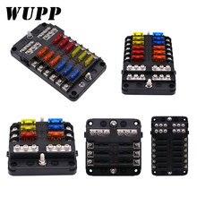 WUPP Soporte de caja de fusibles de cubierta de plástico, 12V, 32V, M5, con luz indicadora LED, 6 vías, hoja de 12 vías para coche, barco, triciclo marino
