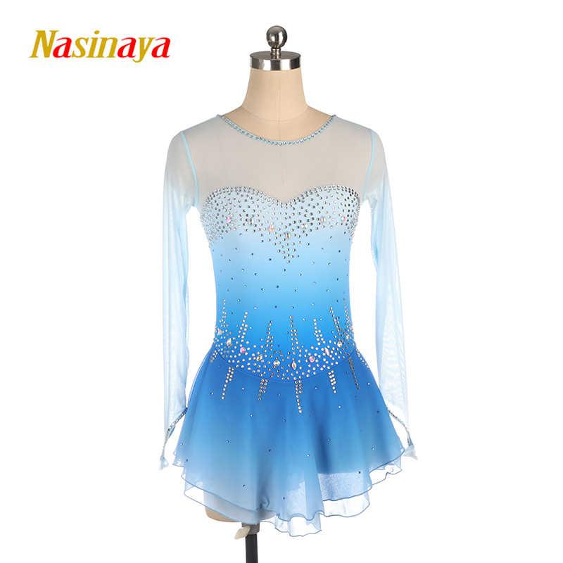 Платье для фигурного катания Nasinaya, индивидуальные юбки для конькобежцев для девочек, женщин, детей, Patinaje, гимнастика, представление 413