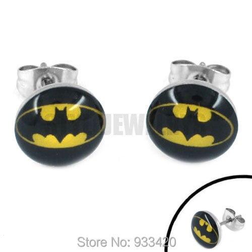 free shipping enamel batman earring piercing stainless steel