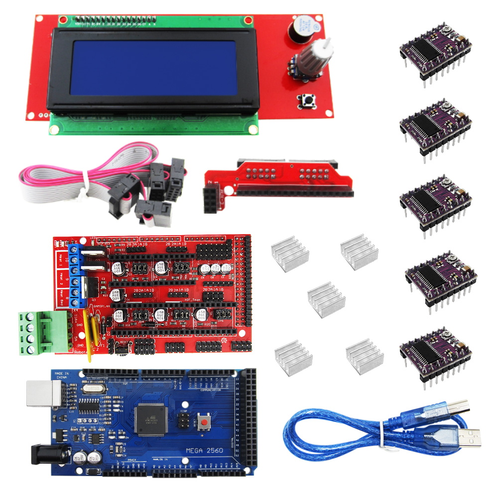 3D Printer kit 1pcs Mega 2560 R3 + 1pcs RAMPS 1.4 Controller+ 5pcs DRV8825 Stepper Motor Drive + 1pcs LCD 2004 controller 1pcs 100