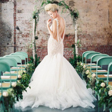 2015 Lace Wedding Dresses Mermaid Summer Bridal Gowns Spaghetti Straps Backless Tulle Sexy robe de mariee noire