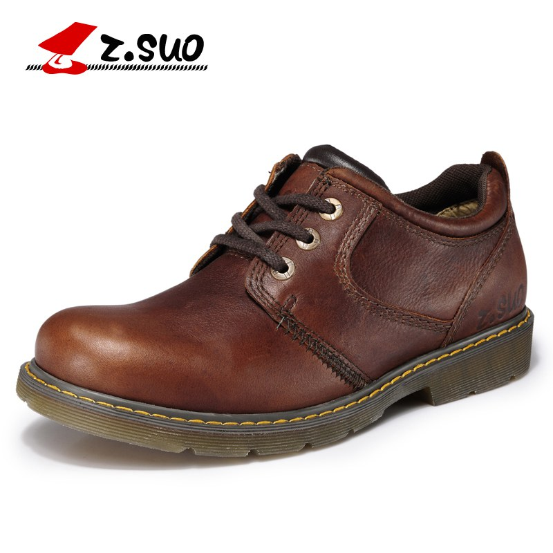 Z.Suo Men's Casual Genuine Leather Shoes Fashion Spring And Autumn Slip-on male Moccasins Breathable TPR Outsole for man ZS886G