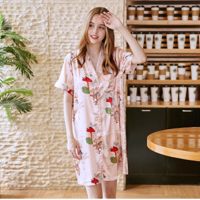 Women Casual Night Dress Sleepwear Satin Short Sleeve Floral   Nightgown   Lounge   Sleepshirt   Female Night Wear Fashion Home Clothing