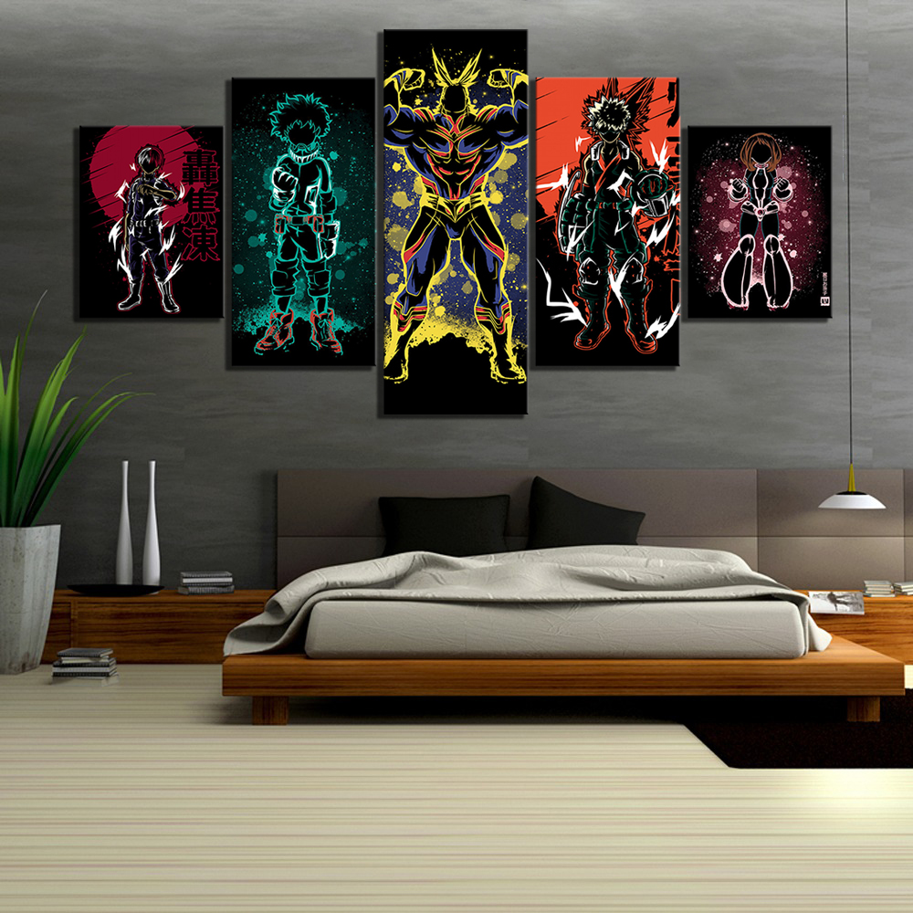 5 Piece Abstract Art HD Cartoon Picture My Hero Academia Anime Poster Boku No Hero Academia Pictures Canvas Paintings for Wall