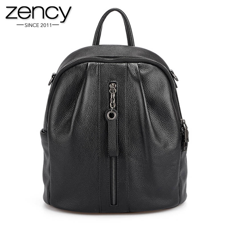 Zency Fashion Black Women Backpack 100% Real Cow Leather Daily Knapsack Preppy Style Student's Schoolbag Simple Travel Bags