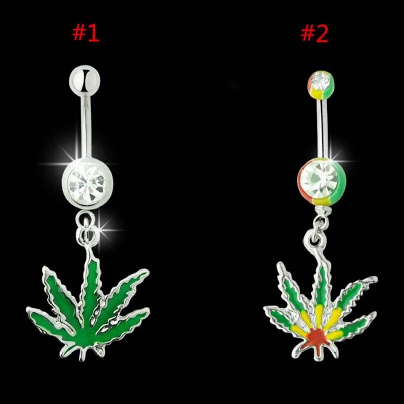 NUEVO! Piercing de Ombligo Cannabis Dangle Navel Ring