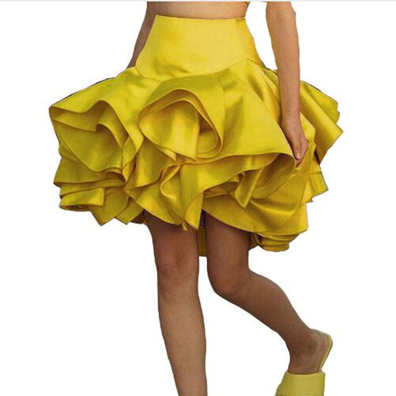 Tutu Skirt Women Fashion Cute Soft Satin High Waist Jupe Purple Yellow Above Knee Ruffle 2019 Custom Made Skirts Faldas Girl image