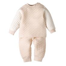 Органическая одежда для малышей хлопок, мягкие теплые комплекты одежды с принтом сердца Топ для новорожденных и детей постарше+ штаны, комплекты пижам