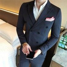 Costum Homme Mariage, 3 предмета, мужской двубортный приталенный однотонный Свадебный комплект жениха, британский стиль, деловое Повседневное платье для мужчин