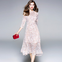 2018 Spring New Irregular Pink Print Woman Dress Elegant European High End 3 4 Sleeve Summer