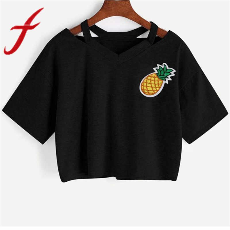b88dbb2821e Feitong Summer Women Crop Tops Casual Pineapple Printed Tank Short Sleeve  Tops Tee Shirt femme Camisetas