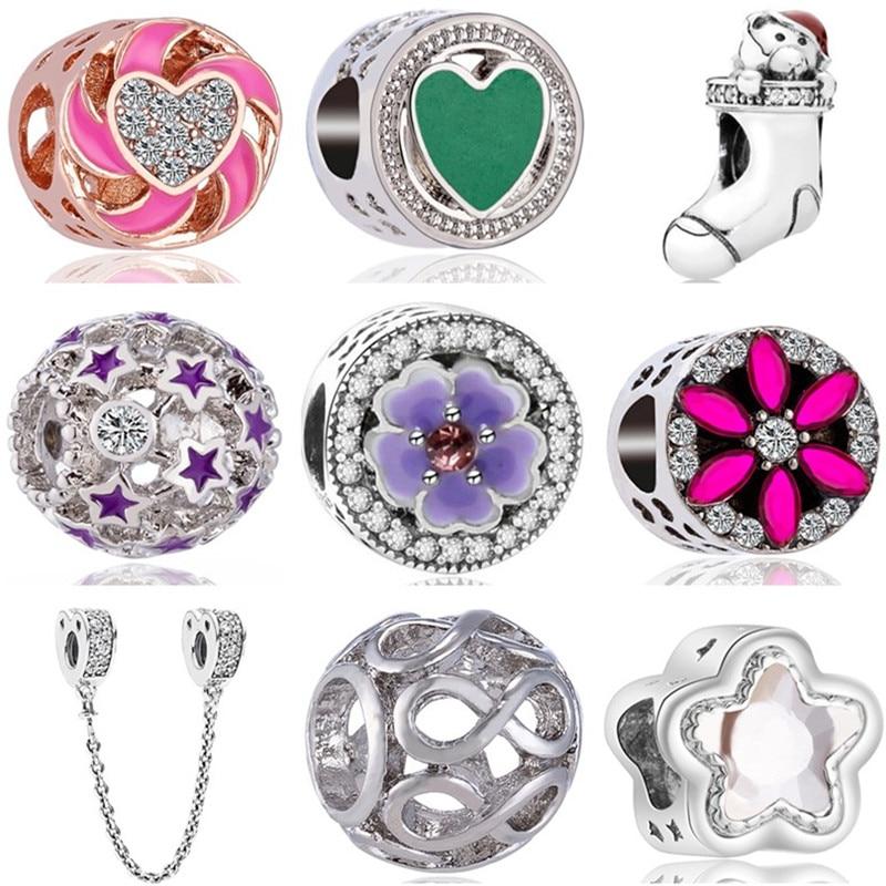 Charms Jewelry Flower Infinity-Beads Crystal Snake Star Enamel-Sock Bear Women Original Pandora