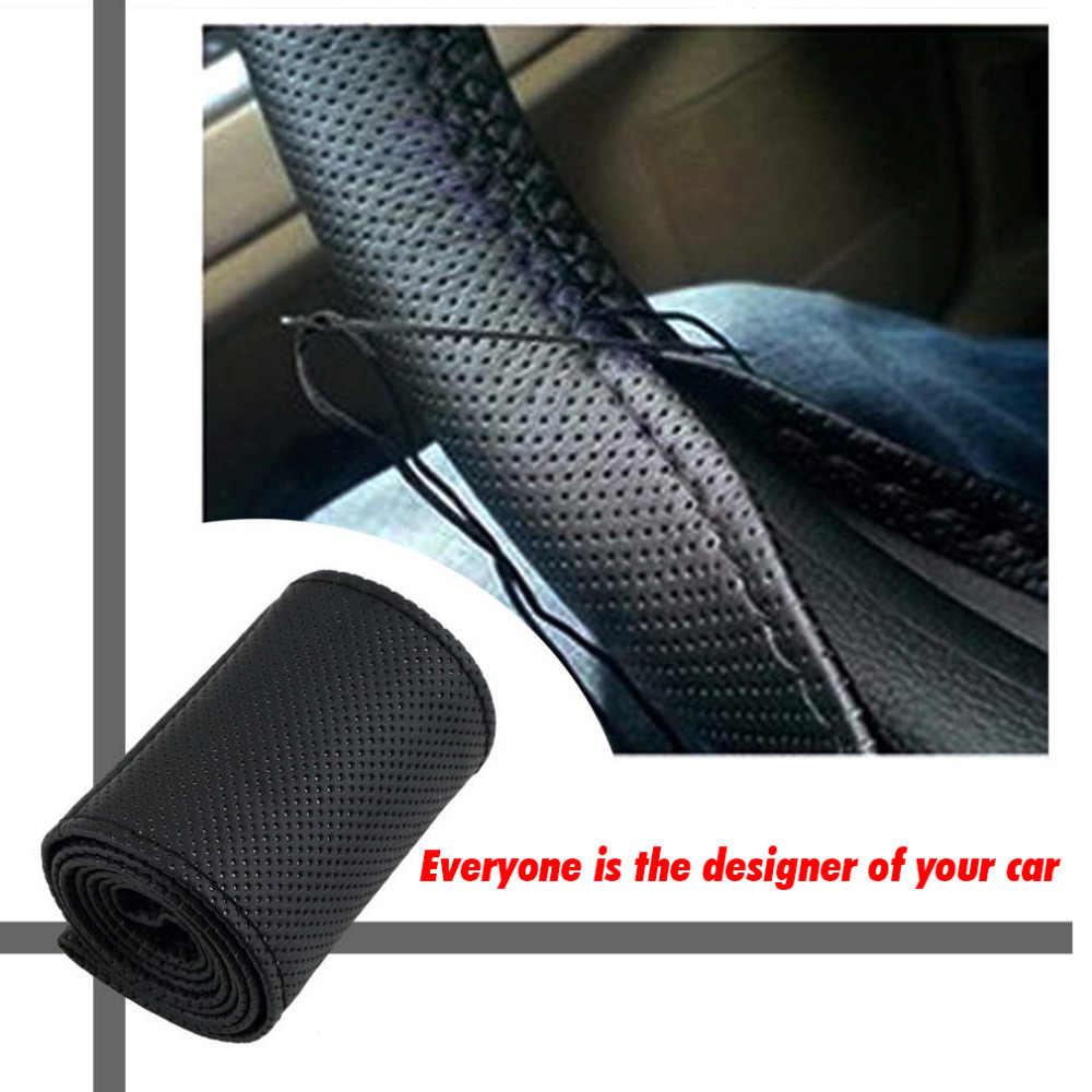 DIY protector para volante de coche de cuero de fibra con aguja trenzada en el volante a prueba de deslizamiento 36-38cm accesorios interiores de estilo de coche