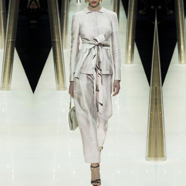 2016 Primavera Verano Nueva gama Alta de Moda Europea Impresión Delgado Traje Pantalón Chaqueta Temperamento Femenino de Dos Piezas Conjuntos