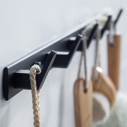 Матовый черный твердый Космический алюминиевый крюк, крючок для одежды сверхмощный настенный крючок для полотенец домашняя кухонная насте...