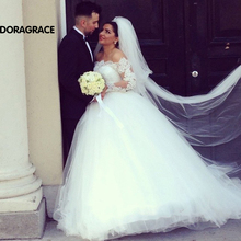Custom Made Romantic Applique Lace Long Sleeve Wedding Dresses Tulle Bridal Gown Designer Gowns DG0077