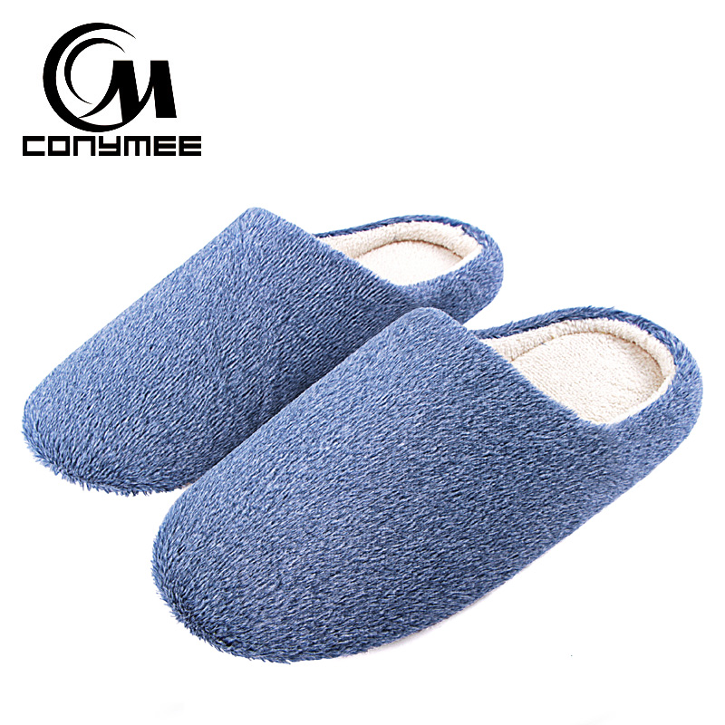 CONYMEE Winter Indoor Home Slippers Men Casual Cotton Shoes Warm Plush Bedroom Slippers Big Size Male Soft Furry House Slippers