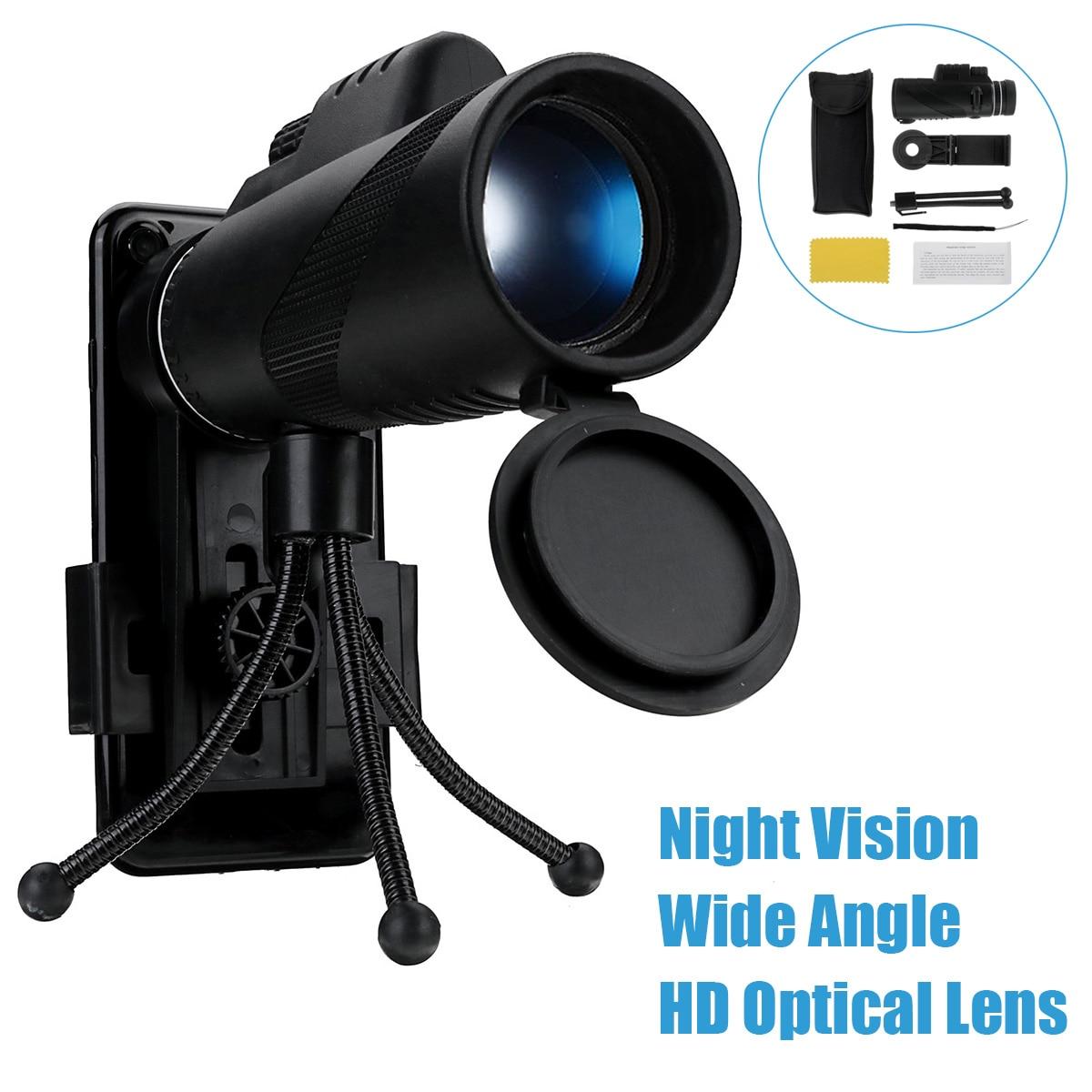 40X60 X lente óptica día y noche visión HD Zoom telescopio Monocular con Clip de teléfono trípode para caza al aire libre de pesca
