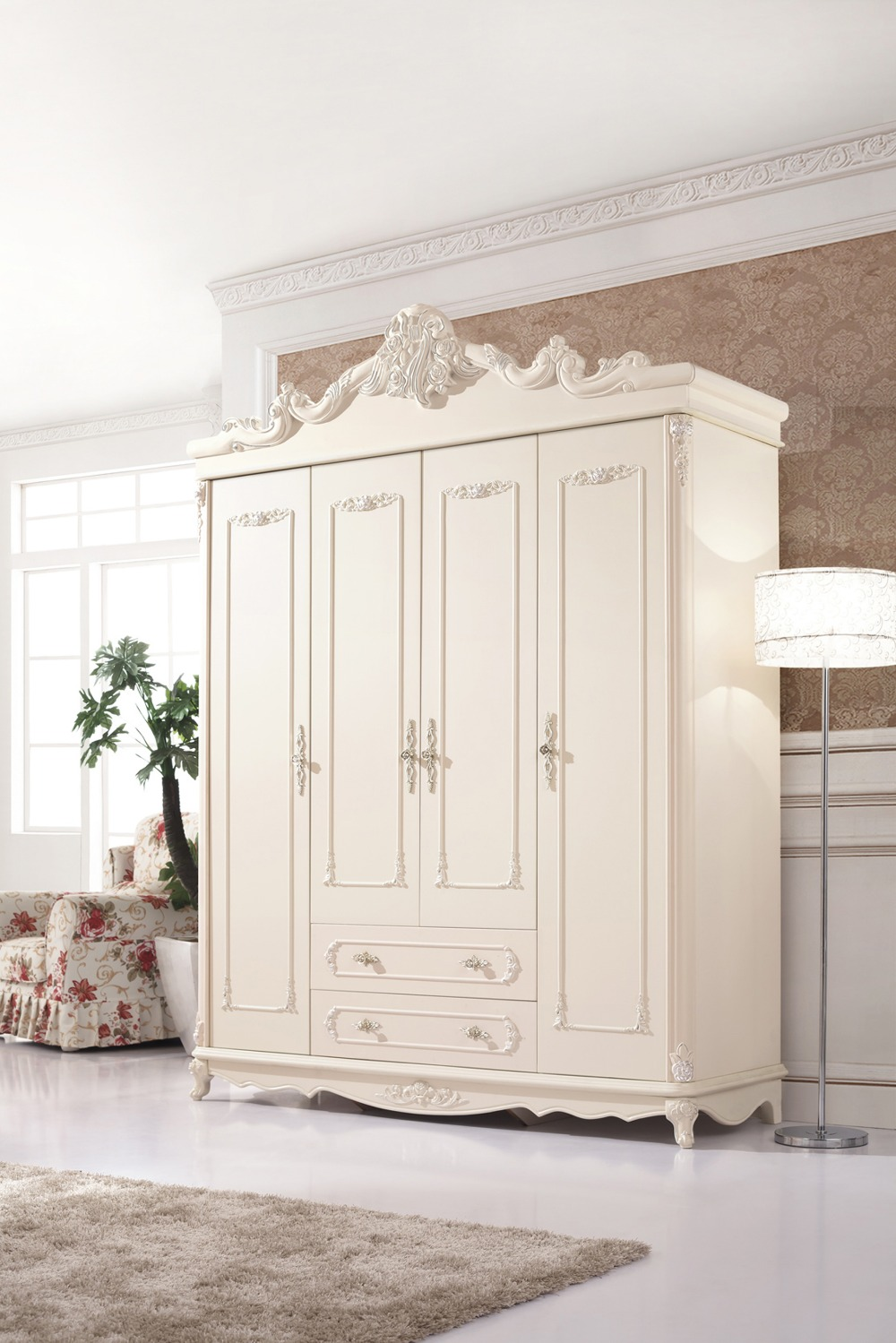 sale nightstand high class european style big size four4doors wardrobe handcarved solid wood bedroom closets furniture