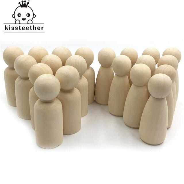 20 pçs homem mulher misturada simples em branco madeira natural pessoas peg bonecas sem pintura figuras bolo de casamento família peg bonecas presente de natal