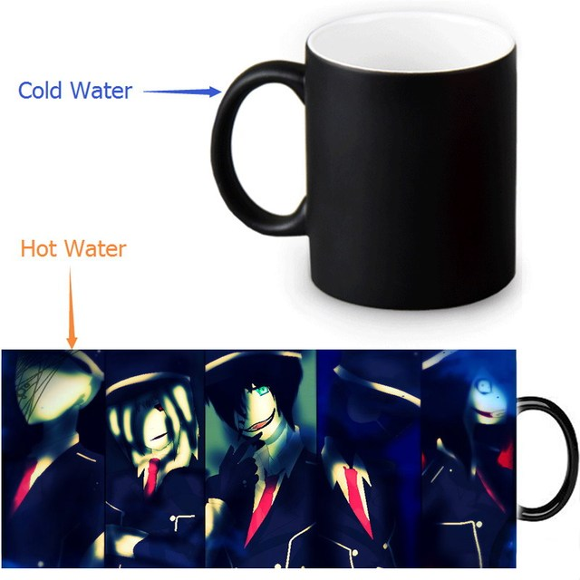 Custom Coffee Morphing Mugs Creepypasta Family Heat Sensitive Tea Milk Cup Black Color Changing Magic Ceramic Mug 350ml/12oz 3