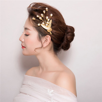 1 Pair Gold Color Hair Clips Plant Design Barrettes Girls Headpiece Hair Jewelry Wedding Party Hairgrips