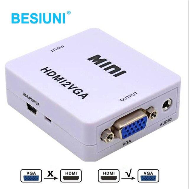 Besiuni 1080 P HDMI untuk VGA Converter dengan Audio HDMI2VGA Konektor Adaptor untuk PC Laptop untuk HDTV Proyektor HDMI 2 VGA Converter
