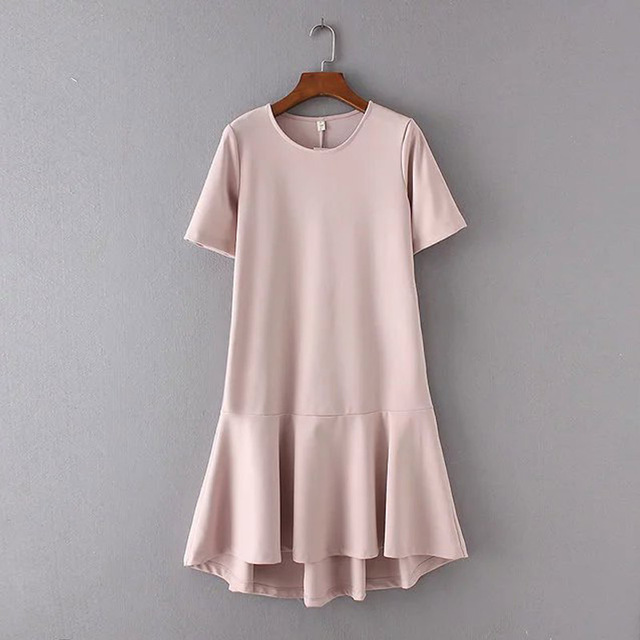 X804 Fashion Women Elegant Solid Color Short Sleeve Loose Dress Las Casual Pullover Ruffles Bottom Dresses