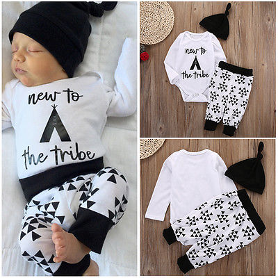 3pcs!!New Newborn Baby Girl Boys Long Sleeve Tops Romper+Snowflake Long Pants Hat Outfits Set Clothes 0-18M