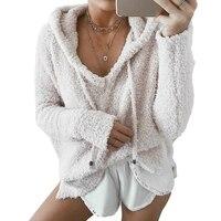 New Women Fluffy Mohair Hoodies Autumn Winter Warm Soft Fleece Loose Sweatshirts Casual Drawstring V Neck