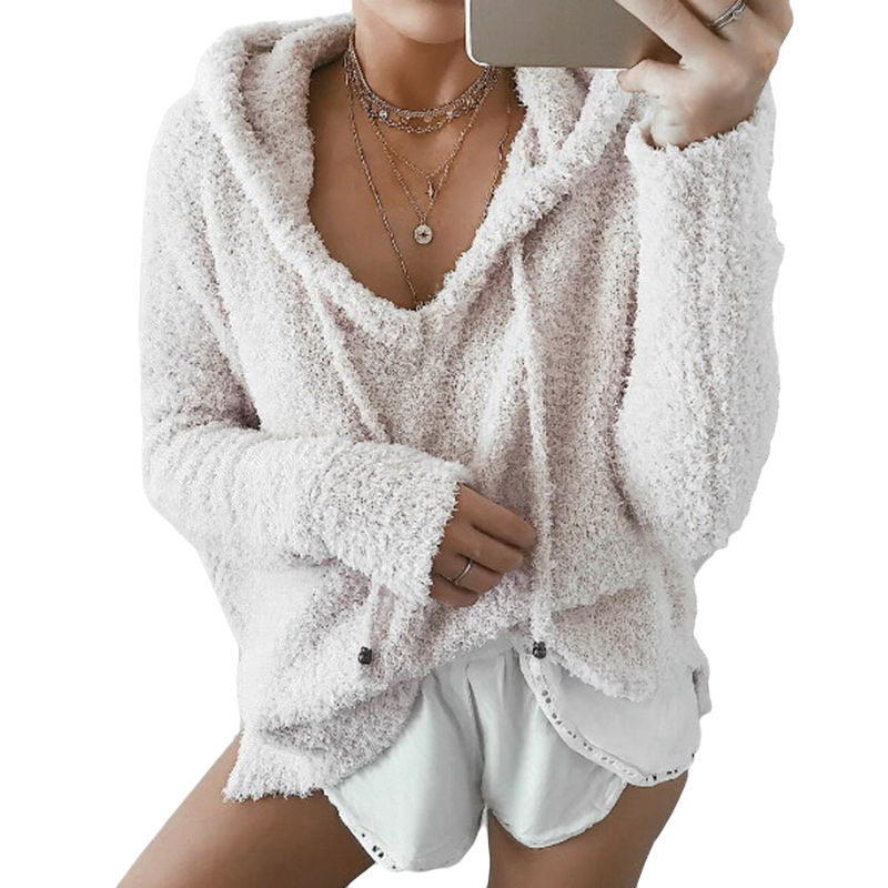 Women's Clothing Women Hooded V Neck Loose Pullover Fluffy Fur Coat Hoodies Jumper Jacket Pure White And Translucent