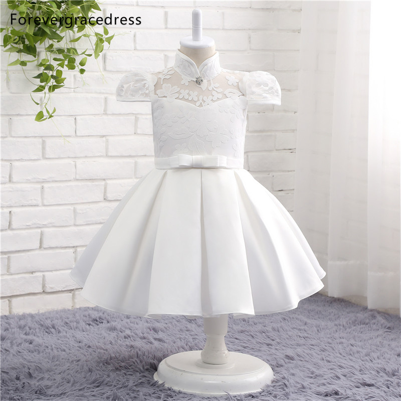 Forevergracedress Real Photos Pretty White Flower Girl Dress Cute High Neck With Bow Lace Kids Pageant Children Dress