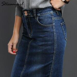 Image 4 - Streamgirl kobiet spódnica Denim długi Saia Jeans damska spódnica Denim spódnice dla kobiet lato rocznika czarny długie spódnice kobiet saia