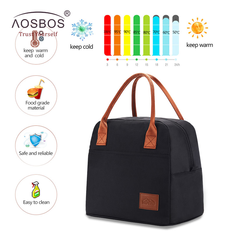 Aosbos Fashion Portable Cooler Lunch Bag Thermal Insulated Travel Tote Bags Large Food Picnic Lunch Box Bag for Men Women Kids