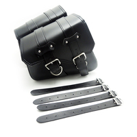 Motorcycle Saddle Bags Pu Leather Motorbike Side Tool Bag Luggage For Sportster XL 883 1200 Black