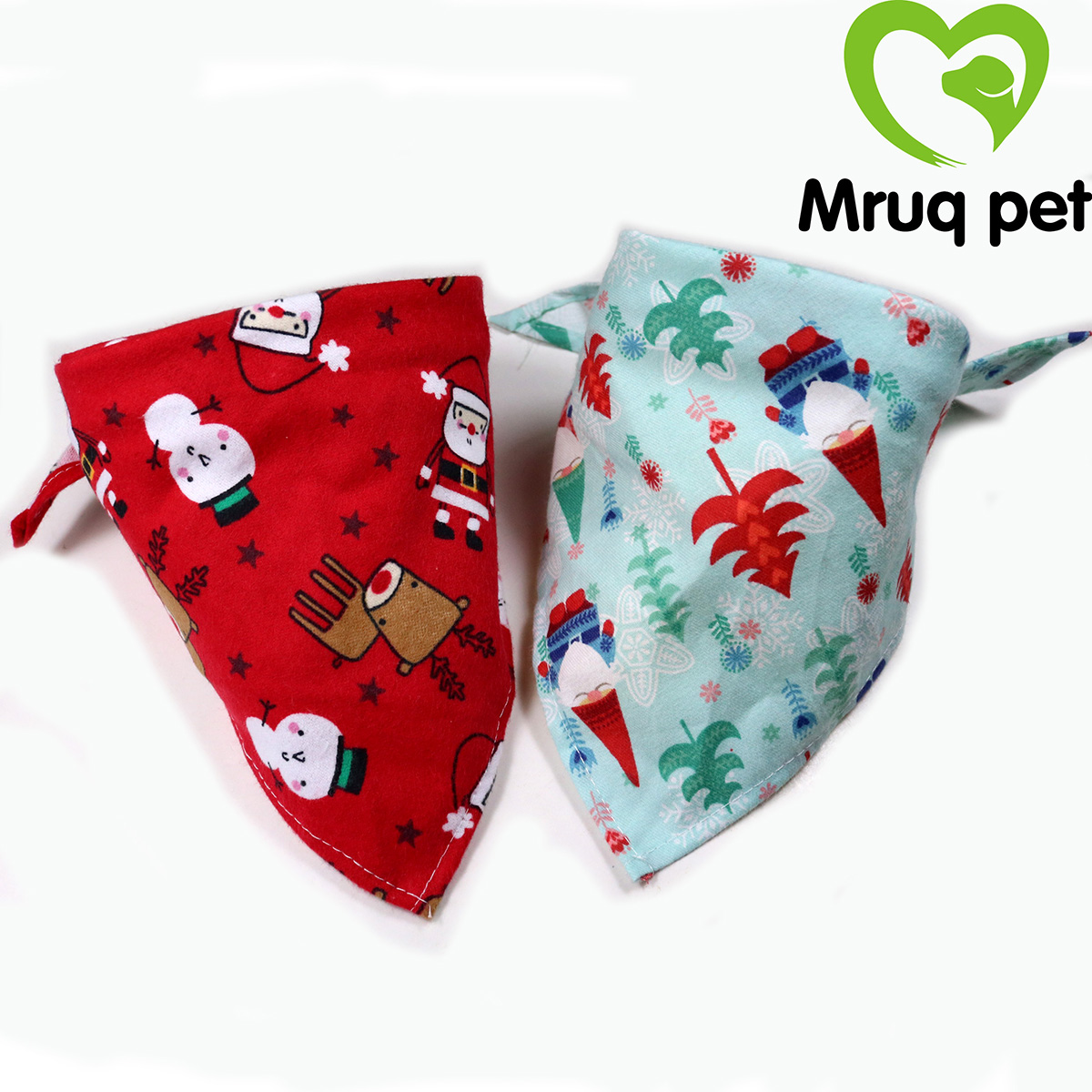 50pcs Christmas Winter Dog Cat Bandanas Adjustable Two Colors Triangular Scarf Dog Bow Ties Pet Costumes
