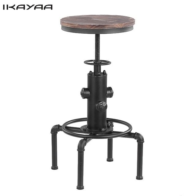 Ikayaa Tabouret De Bar Industriel En Metal Hauteur Reglable Pivotant
