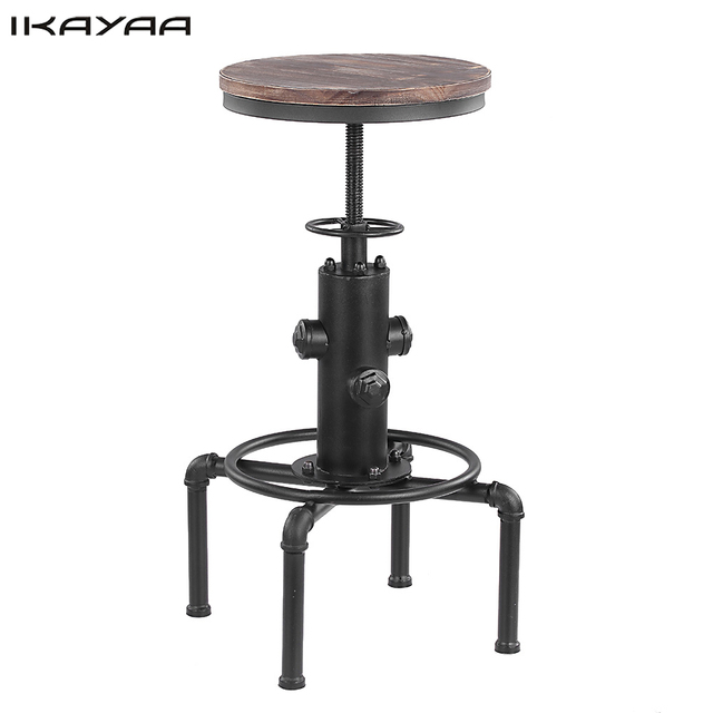 IKayaa Metal Industrial Bar Stool Height Adjustable Swivel Pinewood Top  Dining Chair Pipe Style Barstool US