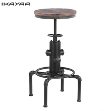 iKayaa Metal Industrial Bar Stool Height Adjustable Swivel Pinewood Top Dining Chair Pipe Style Barstool US FR DE Stock(China)