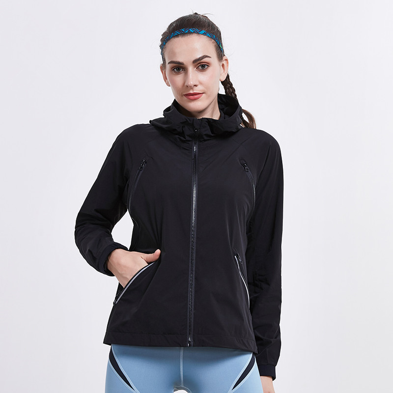 Autumn Winter Zipper Hiking Jackets Sports Running Yoga Womens Hooded Headphone hole Fitness Workout Windproof TopsAutumn Winter Zipper Hiking Jackets Sports Running Yoga Womens Hooded Headphone hole Fitness Workout Windproof Tops