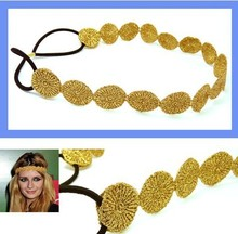 Wholesale retail charming Fshion round lace elastic sun shape headband gold & silver