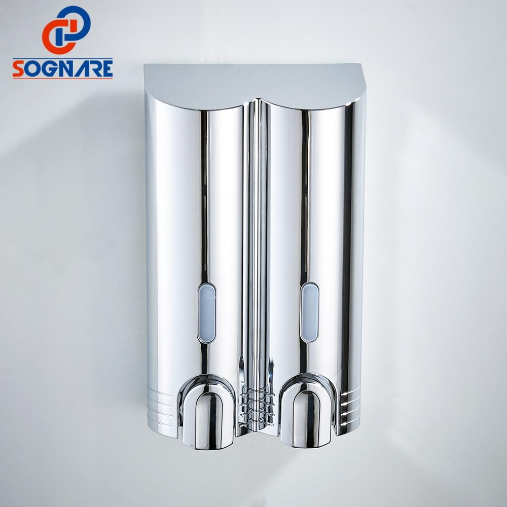 SOGNARE Günstigste Doppel Seife Spender ABS Kunststoff Seife Shampoo Dispenser Flüssigkeit Seife Container Bad Seife Spender Wand